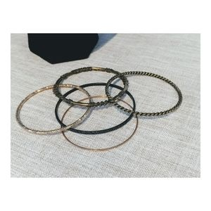 Women's Gold Tone & Black Bangle Bracelet Set of 5